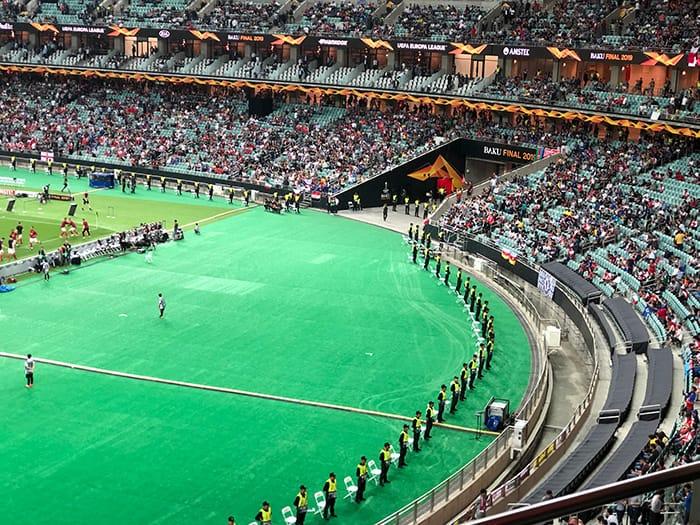 EL決勝 v チェルシー アゼルバイジャン バクー オリンピックスタジアム 警備